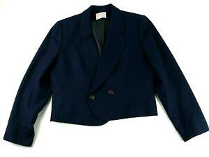 Pendleton Womens Petite Blue Solid Button 100% Wool Blazer Jacket