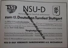 NSU-D-Rad Neckarsulm Werbeanzeige anno 1933 Reklame advertising