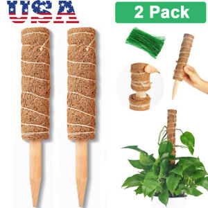 "2Pcs 16"" Coir Totem Pole Moss Sticks for Plants Climbing Support Extension Creep"