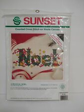 Sunset Musical Noel Counted Cross Stitch on Waste Canvas 18349 Christmas Holiday