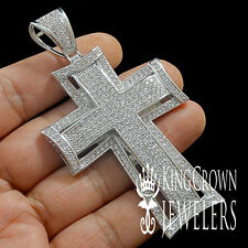 EXCLUSIVE SIZZLING ICE OUT CUSTOM JESUS CROSS CHARM PENDANT WHITE GOLD FINISH