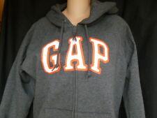GAP Zipper Front Logo Sweatshirt Hoodie Women's Size L Gray