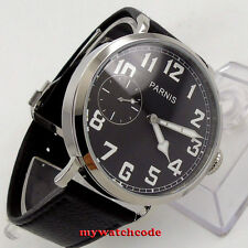 46mm parnis luminous black dial 6497 hand winding leather strap mens watch P274