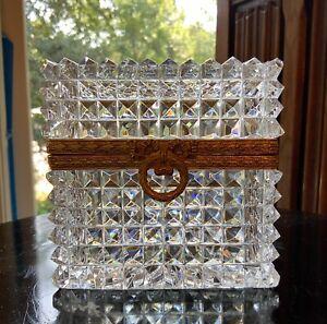 Baccarat Sharp Diamond Cut Glass Bronze Mounted Casket Box / 19th Century