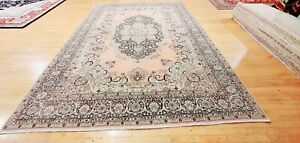 Antique 1940-1950's Distressed Wool Pile Old Pink Color Oushak Area Rug 9x12ft