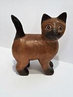 Katze aus Holz braun Arkazie Handarbeit Deko Skulptur Tierfigur Geschenk