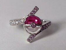Pokemon Half Round Pokeball White-Red Garnet 925 Sterling Silver Wedding Ring$$$