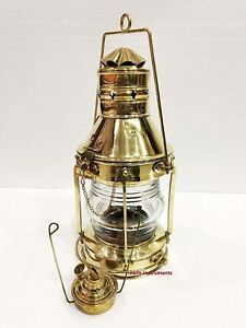 """Brass Nautical Lamp Lightning Heavy Duty 15"""" Oil Hanging Lantern Collectibles"""