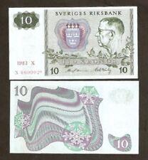 SWEDEN 10 KRONER P52 1983 * REPLACEMENT GUSTAF VI CURRENCY MONEY BILL BANK NOTE