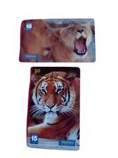 Wild Animals 2 phonecards. Lions. Panthera Leo. Tiger, Panthera Tigris.