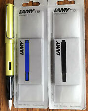 LAMY SAFARI FOUNTAIN PEN - Neon Lime Special Ed., M size nib, 10 Blue/Black Cart
