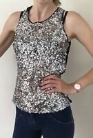 Sandro Paris Sequin Top Mesh Open Back New Year Party Size 8 Christmas