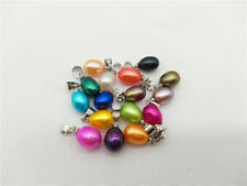 20PCS 9-11mm Height Colored Rainbow Drop Pearl Pendant,Akoya Oyster,Pearl Cage