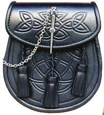 SUPERIOR LEATHER SPORRAN-Real Leather-Deeply Embossed-Three Handmade Tassels