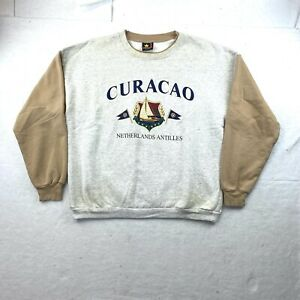 VINTAGE 90s Curacao Tourist Crewneck Grey Size L Made in USA