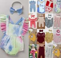 2Pcs Jumpsuit Warm Romper Bodysuit+Headband Girls Boys Unisex Baby Kids Stretch