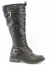 6d8cef69c6c1 Women-Knee-High-Lace-Up   Quilted- Military-Combat-