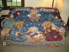 Boyds Bears 200? Woven Tapestry Throw ~Peace On Earth~ Nativity/Christmas Design