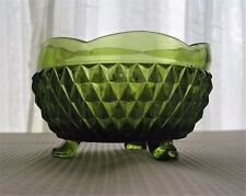 Indiana Glass Green Diamond Point 3 Toed Candy Dish Rose Bowl