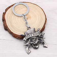 GnR Guns N' Roses Keychain Metal Skull Key Chain Rings Car Key Holder Silver