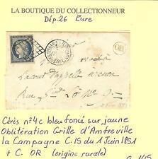 LETTRE DU 1 - 6 - 1851 CACHET 15 AMFREVILLE LA CAMPAGNE N° 4 c OBLI. GRILLE + OR