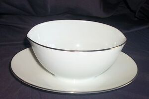 Stunning Silver Trimmed Gravy Boat Signed Noritake China Japan