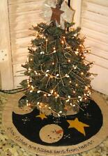 "12 "" wide Snowman & Stars mini Christmas tree skirt cl"