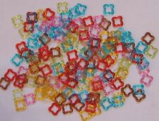 100 FUN SHAPED ACRYLIC RINGS BIRD PARROT TOY PARTS CRAFTS JEWELRY MAKING