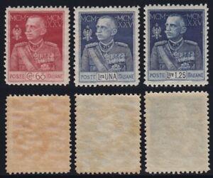 """Regno 1925-26 """"Giubileo del Re"""" dent. 11 n.189-91 nuova MLH* centratissima"""