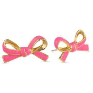 KATE SPADE SKINNY MINI FLO RICH PINK ENAMEL bow stud earrings