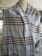 "NEW Cashmere finished Scarf ITALY Pale blue Plaid Florence Italy 72"" SHAWL WRAP"
