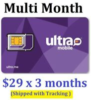 Ultra Mobile Sim Card with 3 months $29 Plan Included