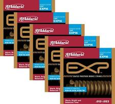 LOT OF 5 - D'Addario EXP16 Coated Phosphor Bronze Acoustic Guitar Strings, Light