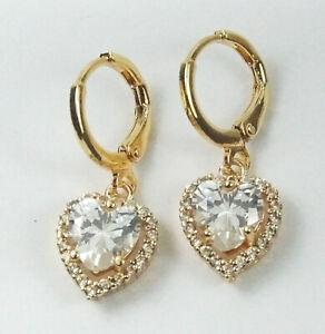 Women's Gold Plated Clear Heart Crystal drop dangle Huggie Earrings