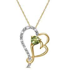 Ladies .05CT Diamond with Peridot Heart Necklace Pendant 10K Yellow Gold