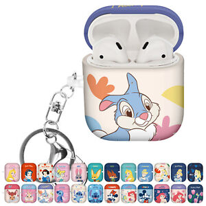 DISNEY Princess for AirPods Case with Keychain Hard PC Shell Strap Hole Cover