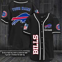 Personalized Men's Buffalo Bills Fanmade Baseball Shirt Black, White XS-4XL