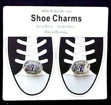 Shoe Charms Purple Ribbon Walk for the Cure Relay for Life Lace Ornaments Shoes