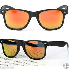 Negro Mate Cuadrado Lente Espejo Hombre Gafas de Sol para Mujer