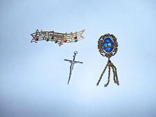 Jewelry (3 Pieces) Brooch; Music Pin, & Jesus Pendent - Vintage