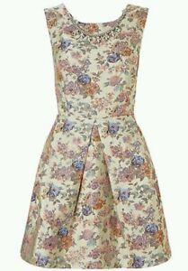 MONSOON PEYTON WRAP CREAM FLORAL CROSSOVER BACK DRESS & NECKLACE RRP £79 SIZE 16