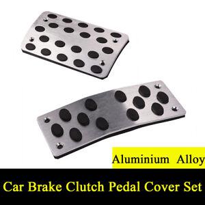 2Pcs Non-Slip Automatic Car SUV Treadle Brake Accelerator Foot Pedal Pad Silver