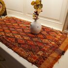 Vintage Hand Woven Wool Nomadic Tapestry Mat Geometric Cube Orange Tribal 3 ft