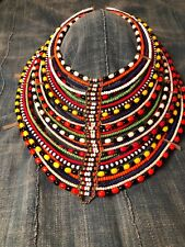 Multicolor glass beads Kenya Vintage Maasai Wedding necklace, Authentic,