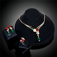Fashion 18K Gold Plated Crystal Pearl Necklace Earrings Ring Wedding Jewelry Set