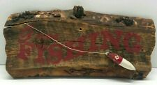 Vtg Handmade Gone Fishing Rustic Reclaimed Wood Plaque Cabin Sign Lure Fisherman