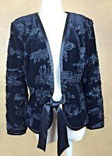 Jackie Jon Velvet Jacket Black Ribbon Embellished Trim & Closure Size 10