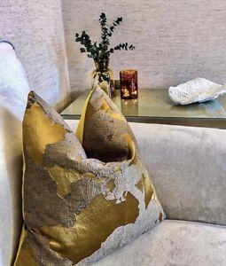 "18"" Cushion Cover John Lewis & Partners Komako Fabric Gold Textured Luxury"
