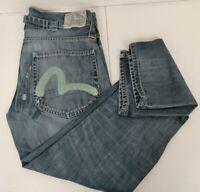 Evisu X Puma Collab Jeans Size 32x31 Blue Distressed Dark Denim Faded Button Fly