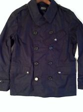 $695 Polo RALPH LAUREN Navy Cotton Twill Naval Peacoat LARGE  rrl purple label